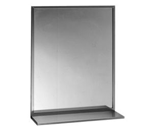 "Bobrick B-166 2436 24""W x 36""H Stainless Steel Channel Frame Plate Glass Mirror with Shelf"