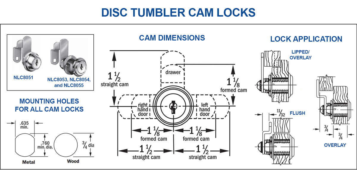 Compx nlc ka a cabinet lock disc tumbler cam