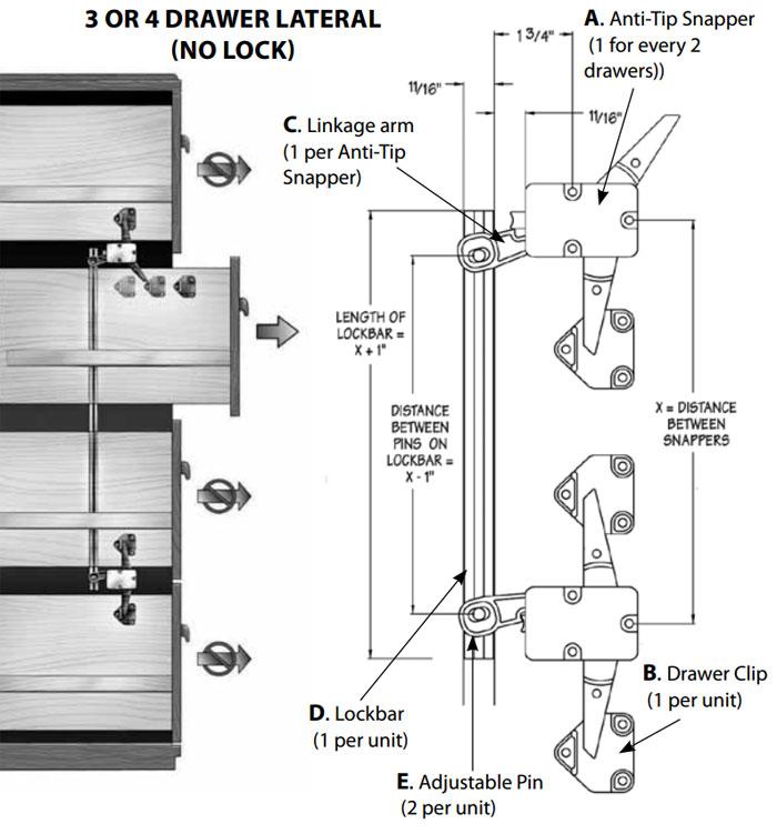 Compx TLDC400 Anti Tip Interlock System Drawer Locking