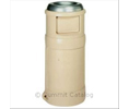 Continental 1435BE 24-GAL BEIGE ASH-TOP RECEPTACLE W/ S/S TOP 1/EA