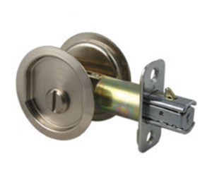 "Round Pocket Door Hardware 2642 l234 26d round pocket door lock with 2-3/4"" backset privacy"