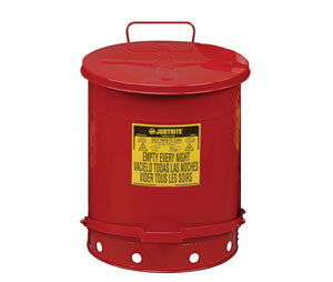 Justrite 09700 Oily Waste Can w/Foot Operated Cover - 21 Gallon - Red
