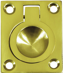 "Deltana FRP175 1-3/4"" x 1-3/8"" Solid Brass Flush Pull Ring"