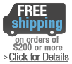 Free Shipping on orders of $200 or more.  Excludes doors, frames, glass, mirrors and safes.