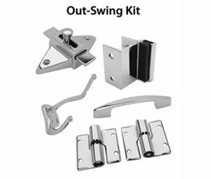 jacknob jn20200 toilet door hardware kit surface mount hinges and components left hand out swing